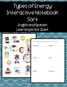 Types of Energy Sort and Interactive Notebook (Spanish and