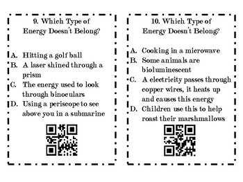 Types of Energy Task Cards: Who Doesn't Belong?
