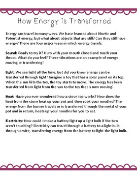 Types of Energy Transfer: Heat, Light, Sound, and Electric Energy NGSS Aligned
