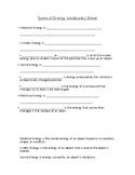 Types of Energy Vocab Sheet