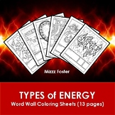Types of Energy Word Wall Coloring Sheets (13 pgs.)