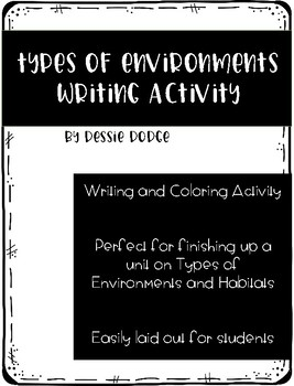 Types of Environments / Habitats Writing Activity