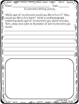 Types of Environments / Habitats Writing Activity