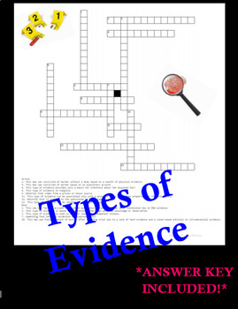 Forensic Types of Evidence Crossword Puzzle Review