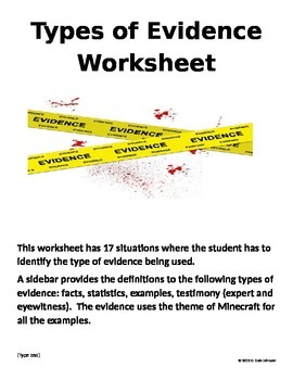 Types of Evidence for Grades 9-12
