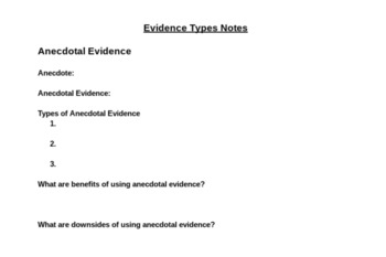 Types of Evidence in Argument Writing