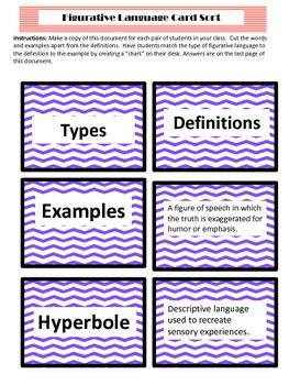 Types of Figurative Language Sorting Activity