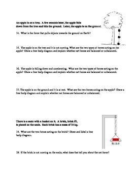 Types of Forces:  Gravity, Friction, Applied, Normal Force Worksheet