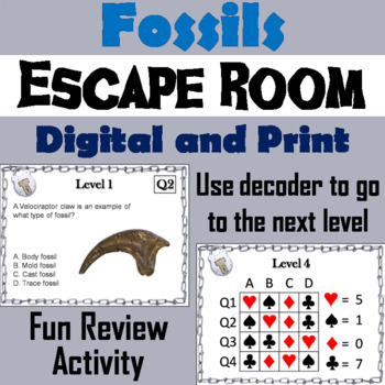 Types of Fossils Activity: Escape Room - Science