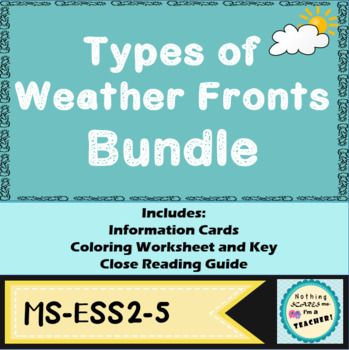 Types of Fronts Coloring Worksheet, Information Cards and Note-taking Guide