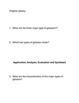 Types of Galaxies Common Core Reading and Writing Activities