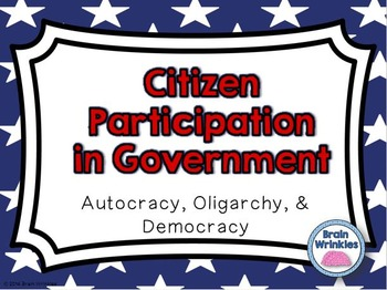 Citizen Participation in Government -- Autocracy, Oligarchy, & Democracy
