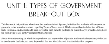 Types of Government Break-out Box Activities
