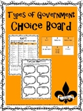 Types of Government Choice Board & Activity Pack