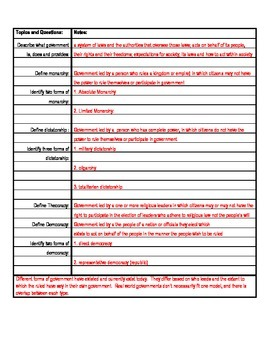 Types of Government Cornell Style Note-Taking Template