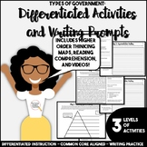Types and Forms of Government Differentiated Writing Activities