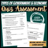 Types of Government & Economies Quiz