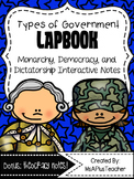 Types of Government Lapbook: Monarchy, Democracy & Dictatorship