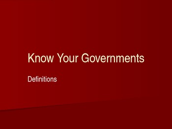 Types of Government Presentation -Six Major Forms of Government