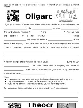 Types of Government QR Code Activity