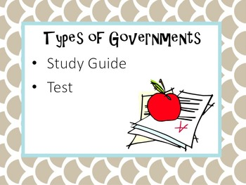 Types of Government Study Guide and Test