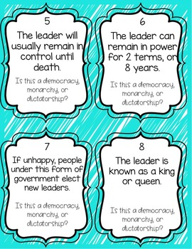 Types of Government Task Cards - Monarchy, Democracy, Dictatorship
