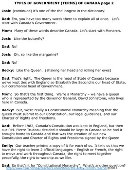 Types of Government (Terms) of Canada Play or Readers' Theatre