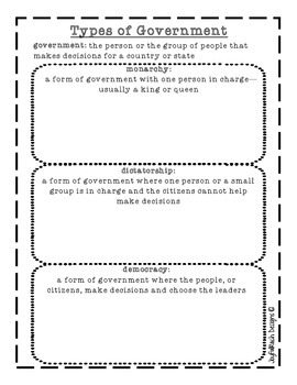 Types of Government printable: monarchy, dictatorship, and