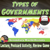 Types of Governments: Lecture, Postcard Activity, Review Game. Google Included!