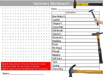Types of Hammers Wordsearch Sheet Starter Activity Keywords Woodwork Wood Shop
