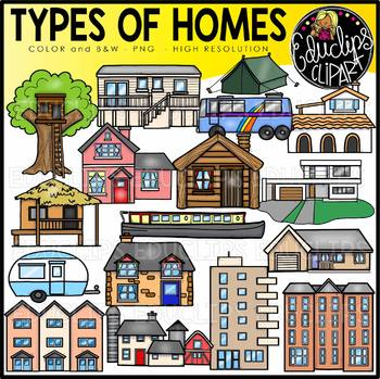 Types of Homes Clip Art Set {Educlips Clipart}