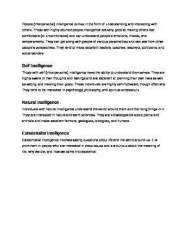 Types of Intelligences Activity
