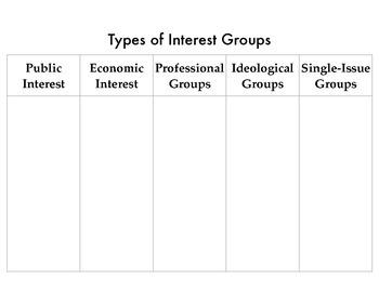 Types of Interest Groups Graphic Organizer