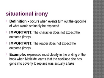 Types of Irony PowerPoint - The Cask of Amontillado and The Necklace
