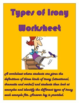 Types of Irony Worksheet for Grades 9-12