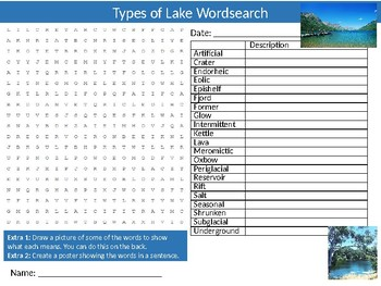 Types of Lakes Wordsearch Puzzle Sheet Starter Activity Keywords Geography