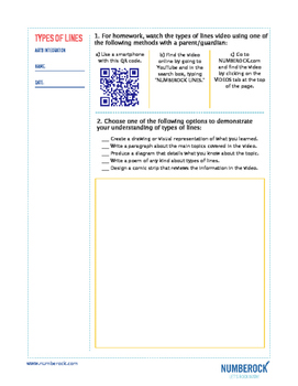 Types of Lines | FREE Poster, Worksheet, & Fun Video | 4th-5th Grade