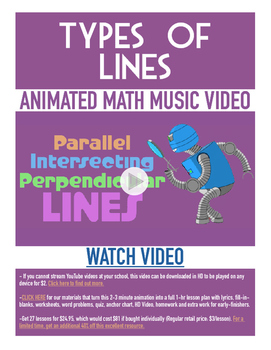 Types of Lines | FREE Poster, Worksheet, & Fun Video | 4th