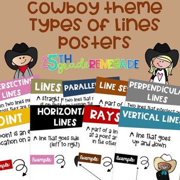 Types of Lines Math Posters with a Cowboy Cowgirl Theme