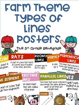 Types of Lines Math Posters with a Farm Theme