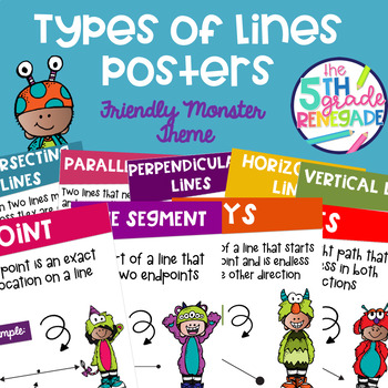 Types of Lines Math Posters with a Friendly Monster Theme