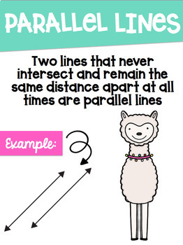 Types of Lines Math Posters with a Llama Alpaca Theme