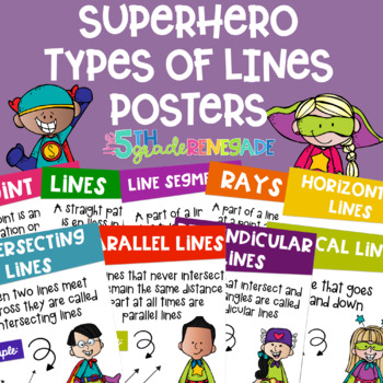Types of Lines Math Posters with a Superhero Theme
