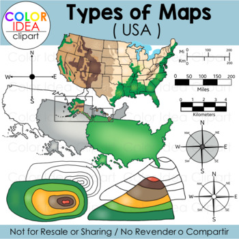 Types Of Maps Clip Art USA By Color Idea Teachers Pay Teachers - Clip art us map