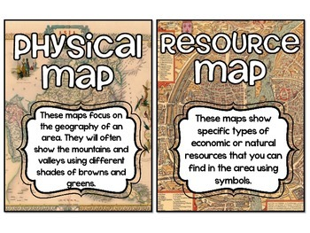 Types of Maps Poster Set AND Interactive Notebook Activity