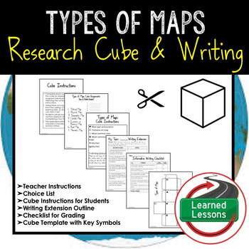 Types of Maps Activity Research Cube with Writing Extension Activity Pack