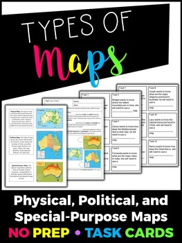 Types of Maps Task Cards by Creative Classroom Activities | TpT