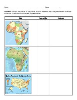 Types of Maps Worksheet by Social Studies Stars   TpT