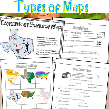 Types of Maps Worksheets by Dressed In Sheets   Teachers ...