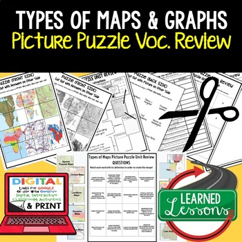 Types of Maps and Graphs Picture Puzzle, Test Prep, Unit Review, Study Guide